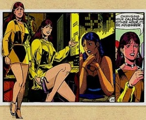 This is the Silk Spectre in the Watchmen comic. Still sexily costumed, but the portrayal gives her exceptional depth and her physicality reflects the physicality of a real woman of that age and experience.