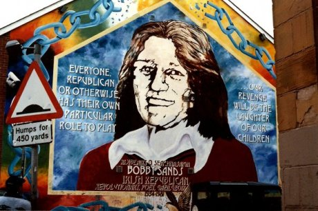 Bobby Sands died after 66 days of hunger striking, at age 27. He is commemorated here. He was a political activist, poet, and was the leader of the 1981 Hunger Strike, where 9 other Irish republican prisoners besides himself died, attempting to fight for Special Category Status (essentially POW-type privileges).