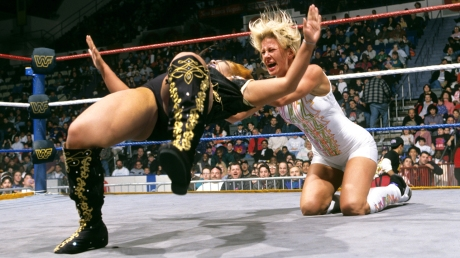 Former female WWE Champ Madusa aka Madusa Miceli aka Alundra Blayze. Pictured here in her famed feud with Bull Nakano