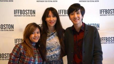 Producer Theresa Navarro, director Ursula Liang, and producer Bing Wang of 9-MAN, at Boston premiere