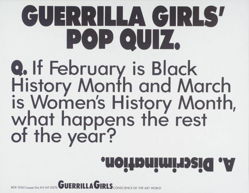 Guerrilla Girls' Pop Quiz 1990 by Guerrilla Girls
